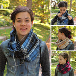 Black Tartan Flannel Pocket Scarf