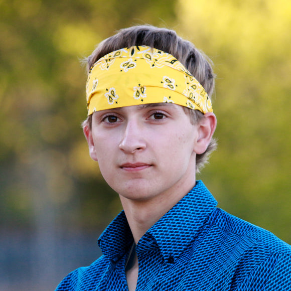 Men's Yellow Bandana Headband