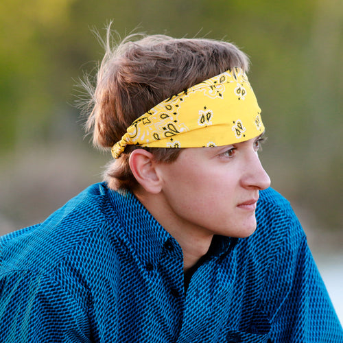 Men's Yellow Bandanna Headband