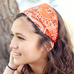 Orange Bandana Wide Headband Girls Bandanna Headwrap – Specifically ... 75544e704c2