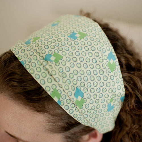 Green Vintage Print Wide Headband