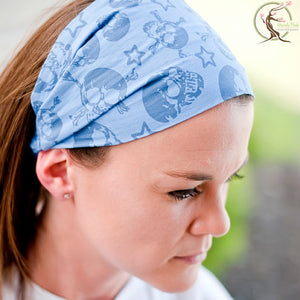 Blue Skulls Wide Headband