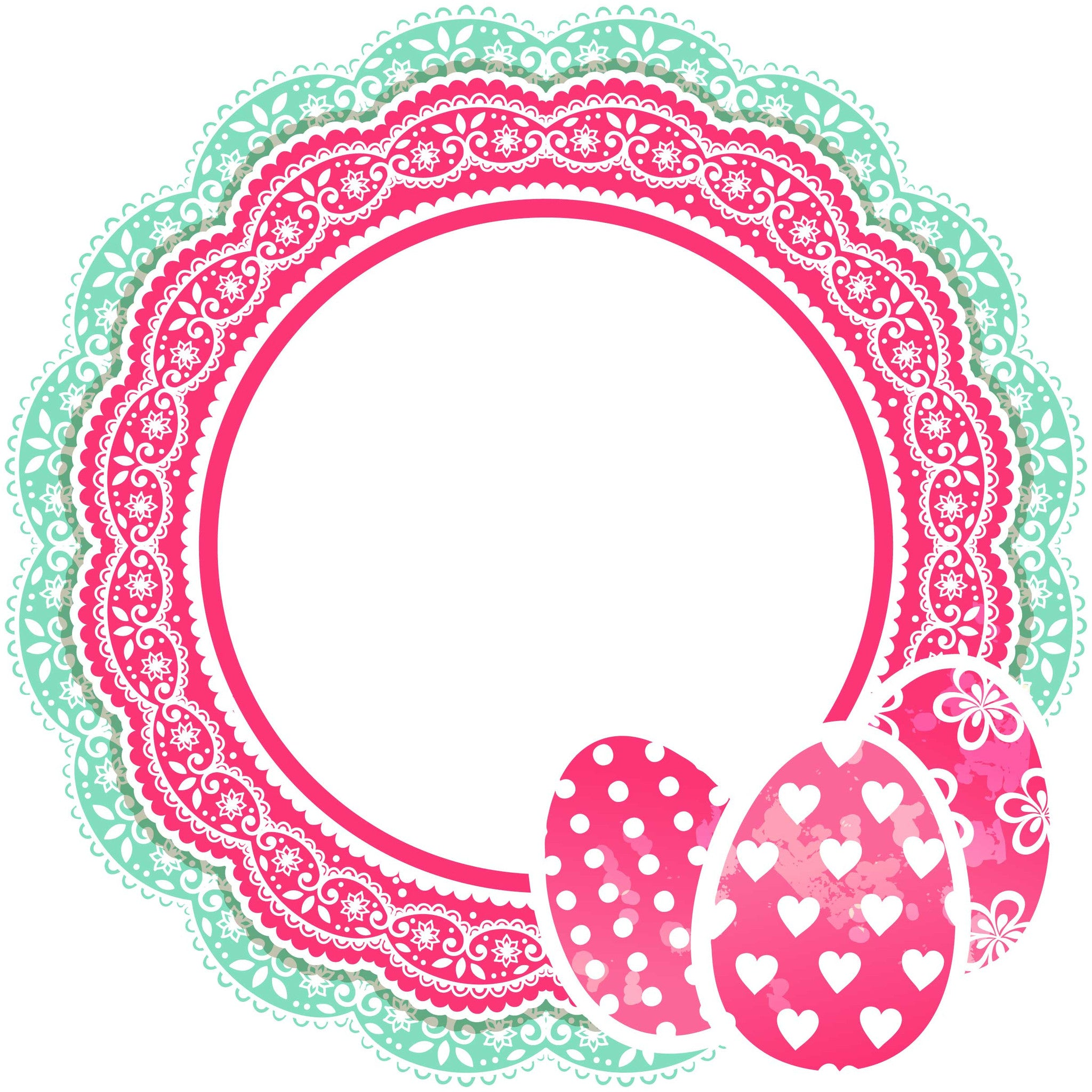 Lace Egg Monogram SVG Cut File