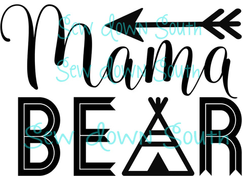 Mama Bear, Baby Bear TeePee SVG Cut File
