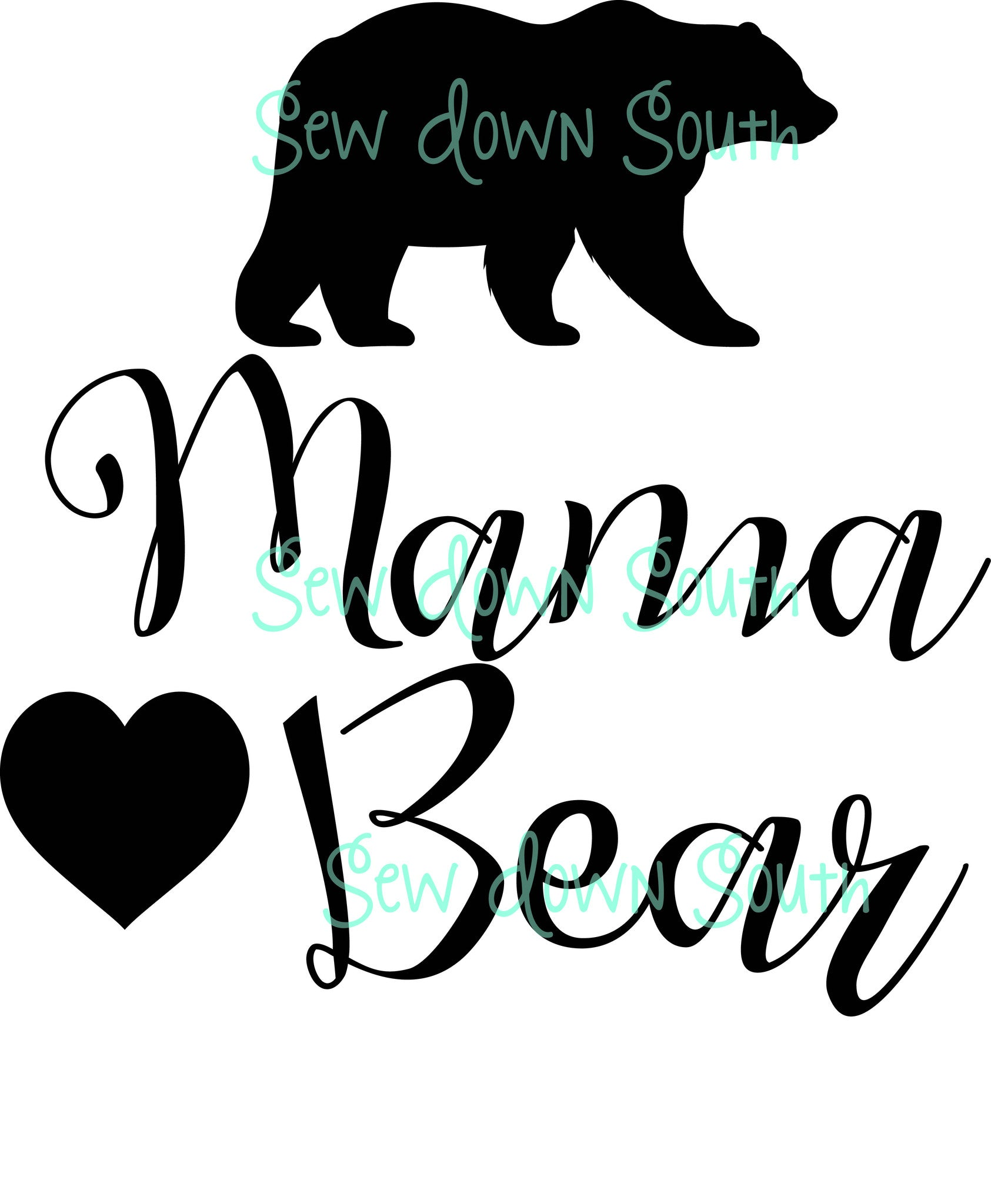 mama bear and family svg cut files sew down south