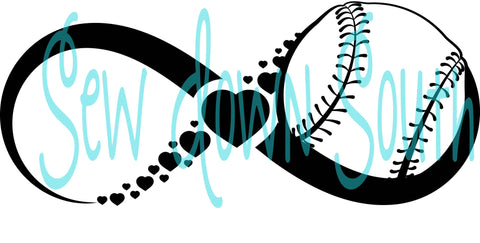 Baseball Hearts Infinity SVG Cut File