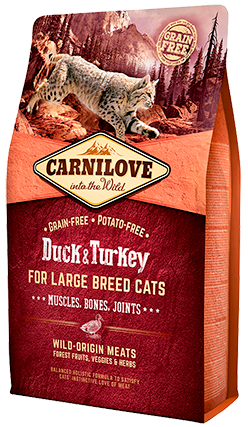 Carnilove Cat – Duck & Turkey for Large Breed Cats – Muscles, Bones, Joints
