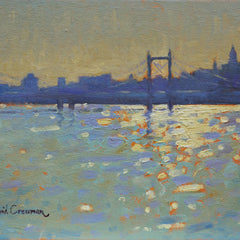 Original oil painting for sale by David Cressman. A landscape depicting moving water, and a hazy cityscape horizon line, painted in a French Impressionist style with the Albert Bridge dividing the canvas. Main colors are cool blues, and dusty oranges with bright hues of sunlight dancing over the water. Painting priced at $1,170.00 US