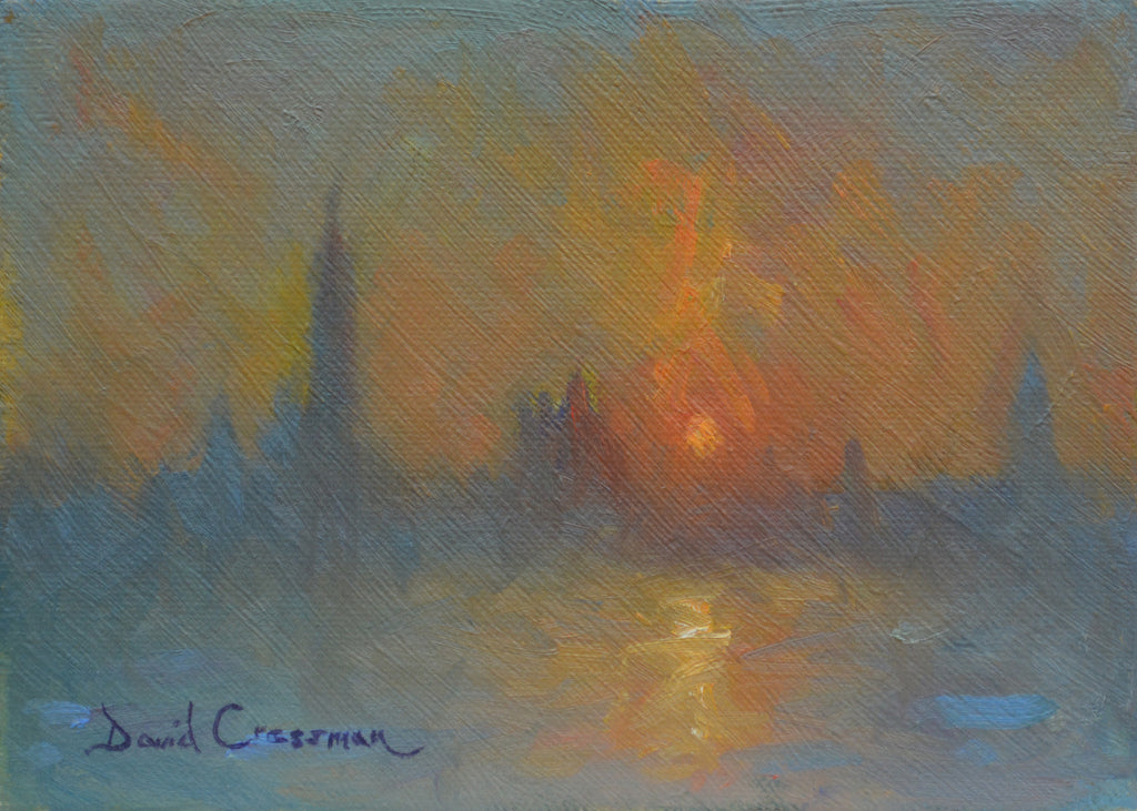 Beautiful oil painting depicting the rising sun with diagonal brush strokes in an French Impressionist style. Colors range from dusty yellows, cool blues, to fire orange as the sun rises.