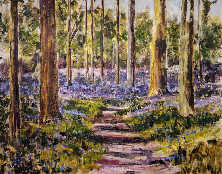 Elaine Murkin Title: Dappled Light in Bluebell Wood