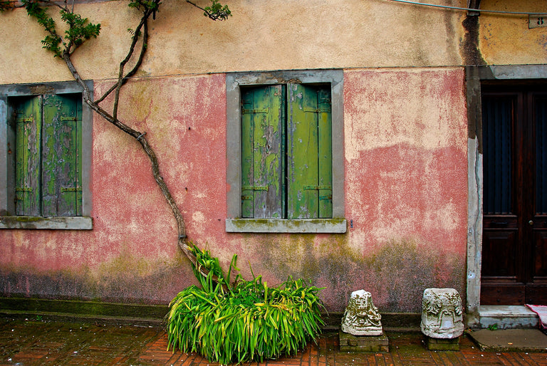 Architectural - Pink House Green Shutters