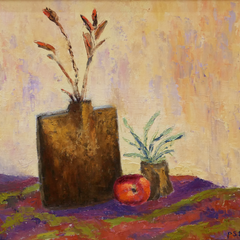 Pauline Ney Title: Brown Vase and Red Apple