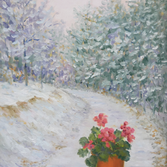 Pauline Ney Title: Red Geraniums and Snow