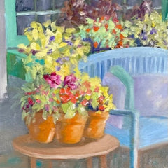 Renee L Gleason Title: Blue Bench With Flowers