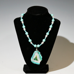 Sherry Siewert Title: Turquoise and Agate Stone Beaded Necklace