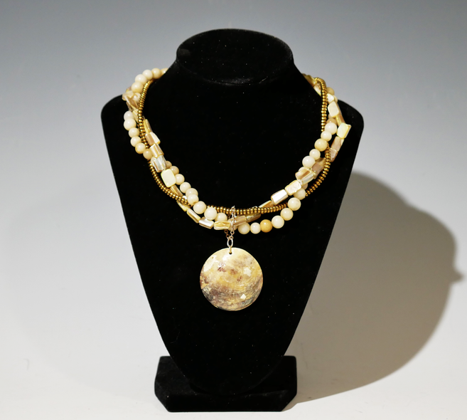 Sherry Siewert Title: Yellow Jade Beaded and Shell Necklace