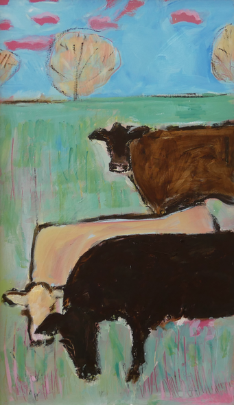 Susan Cary Title: Pink Clouds + Three Cows