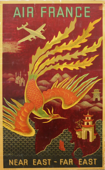 Vintage Travel Poster Title: Air France, Near East-Far East - Perceval