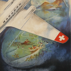 Vintage Travel Poster Title: Swiss Air Lines - Come to Switzerland by air - Hafelfinger