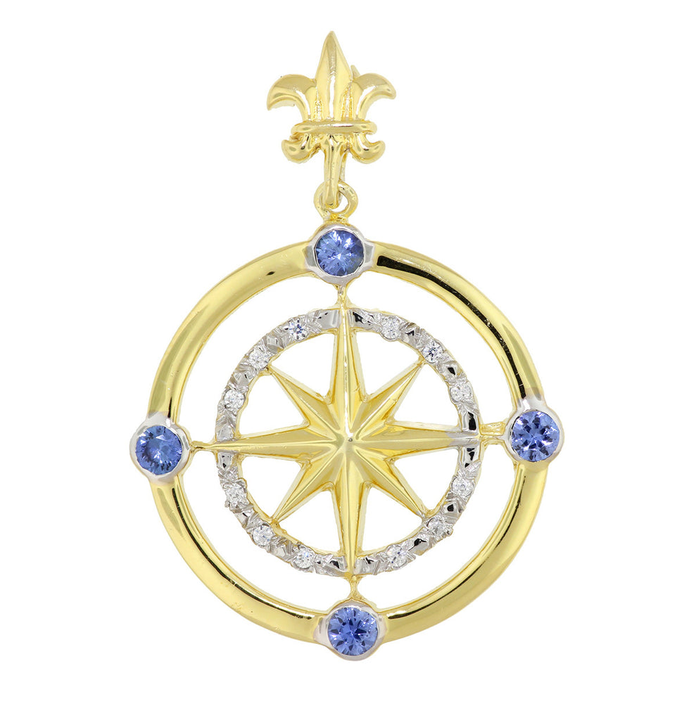 14KT Gold Diamond and Blue Sapphire Compass