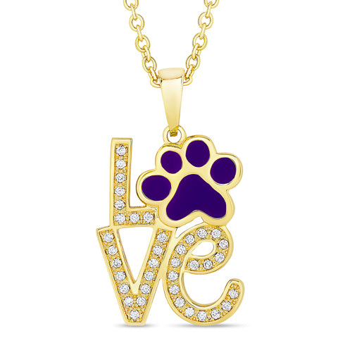 Purple Puppy Paws Necklace with CZ