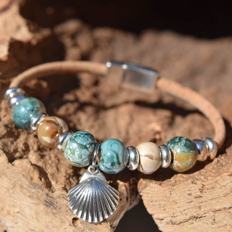 Cork Seashell Bead Bracelet