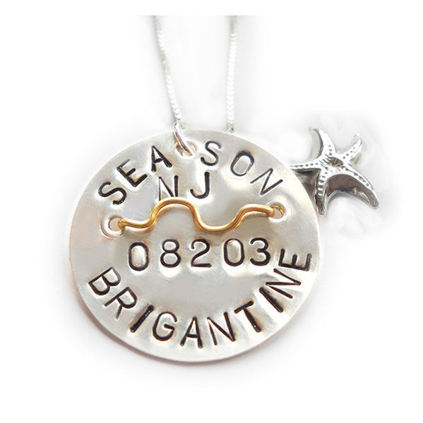 Brigantine Beach Tag Pendant and Necklace
