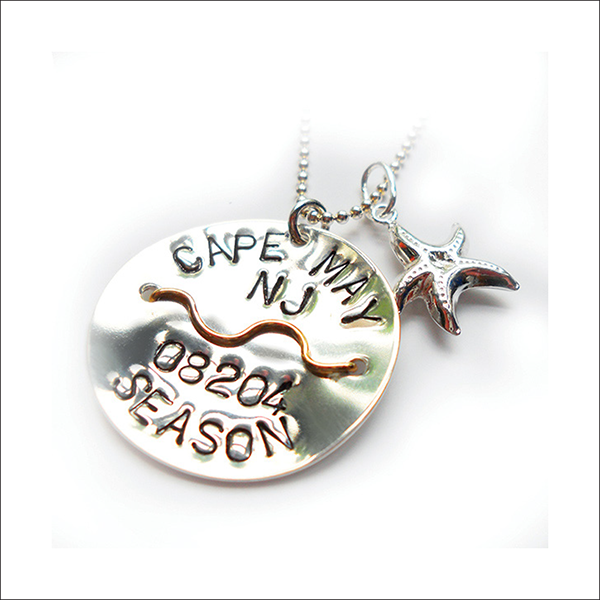 Cape May Beach Tag Pendant & Necklace