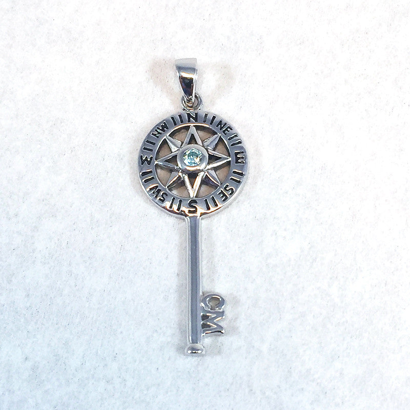 Sterling Silver and Swarovski Crystal Key Necklace