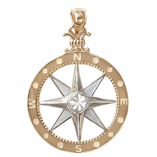 Large 14KT Yellow and White Gold Compass