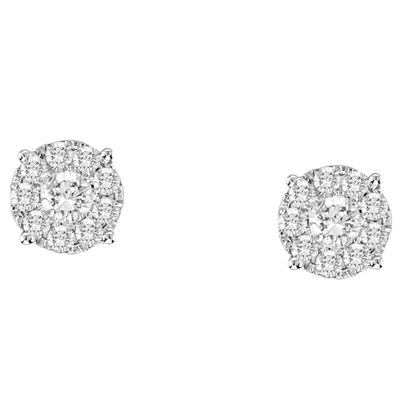 14kt Gold Diamond Stud Bezel Earrings