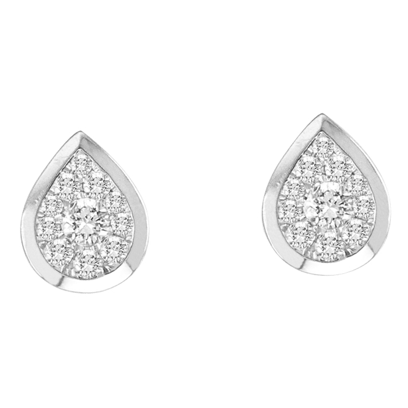 14KT White Gold Pear Shaped Bezel Earrings