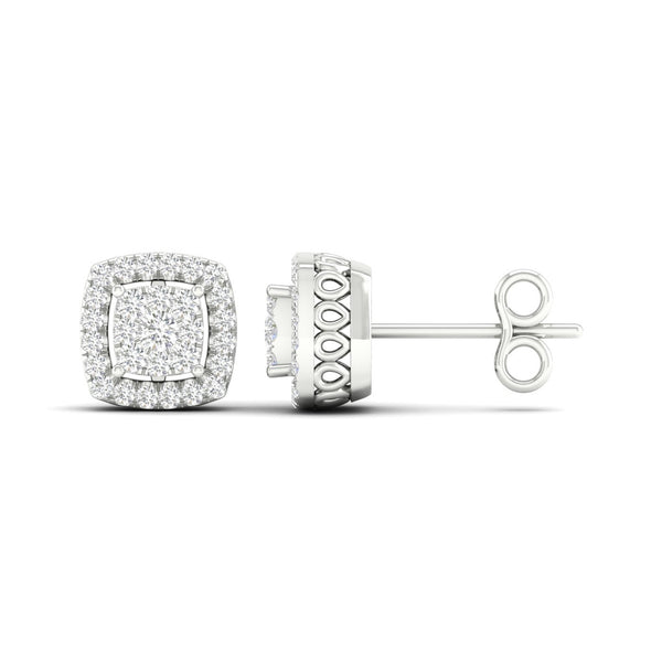 Contemporary Cushion Halo Cut Diamond Earrings