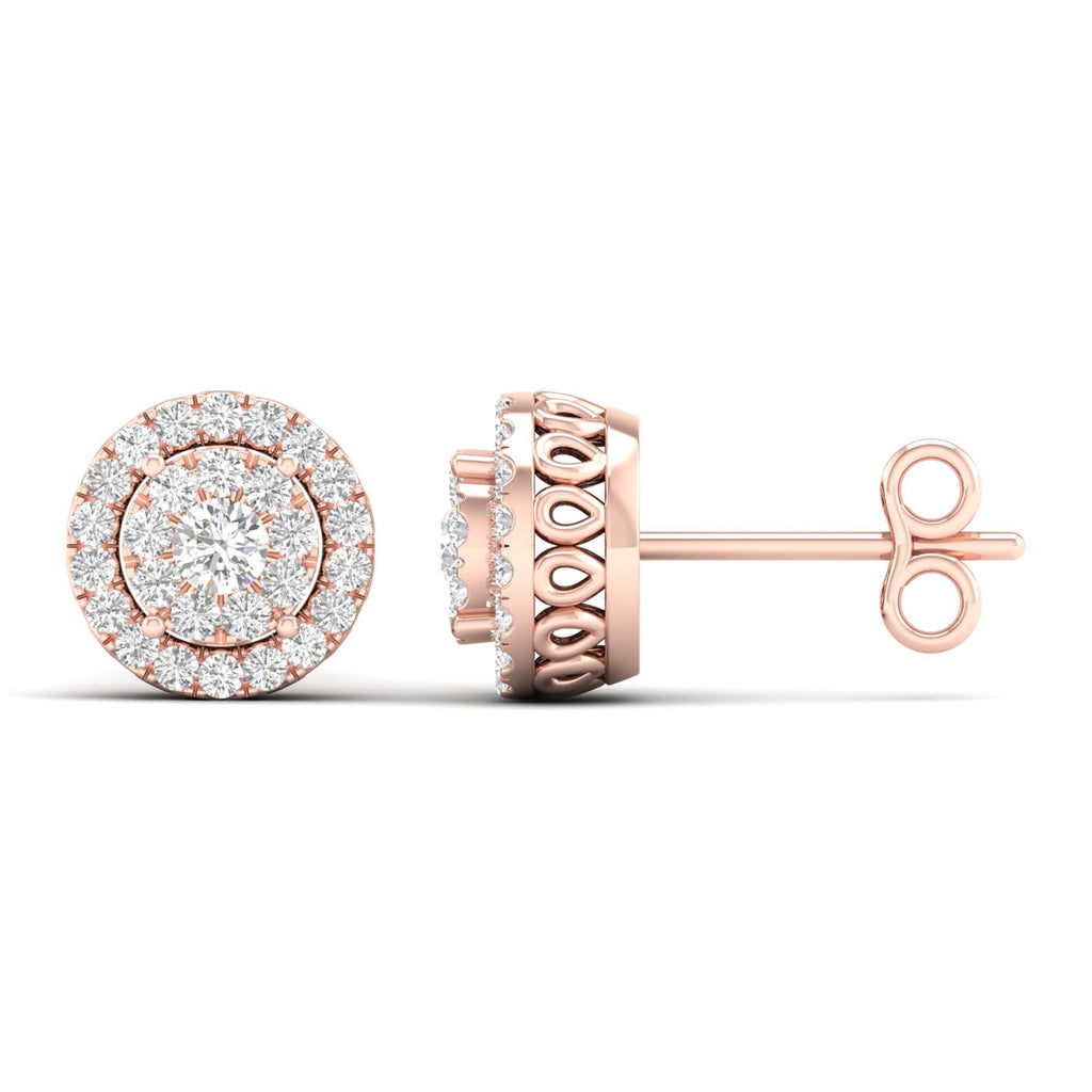 14kt Rose Gold Halo Earrings