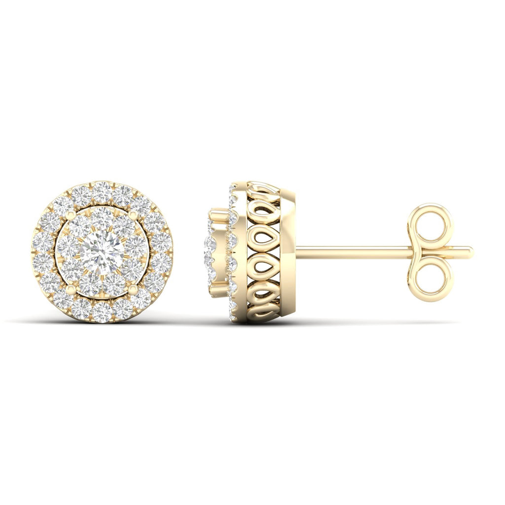 14kt Yellow Gold Halo Earrings