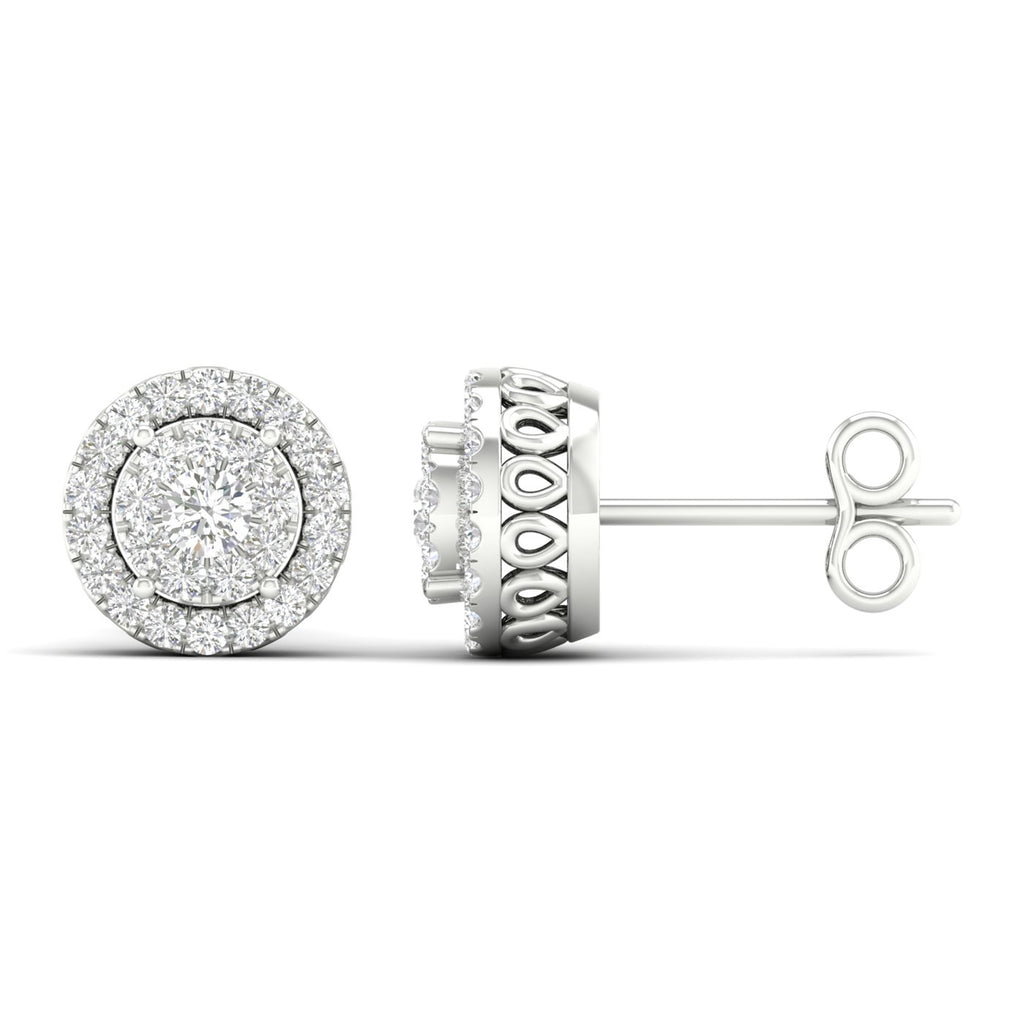 Stylish Round Halo Diamond Earrings