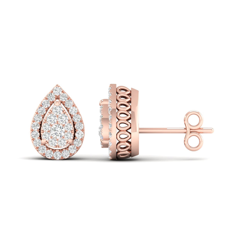 14kt Pear-Shape Halo Earrings - Rose Gold