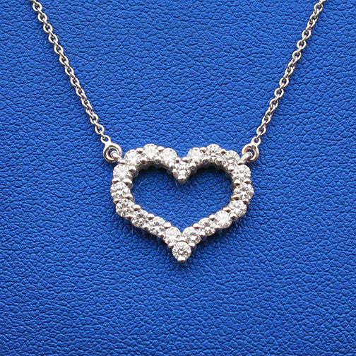 Heart Pendant 14K White Gold with Diamonds