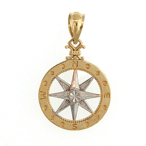 14KT Yellow and White Gold Compass
