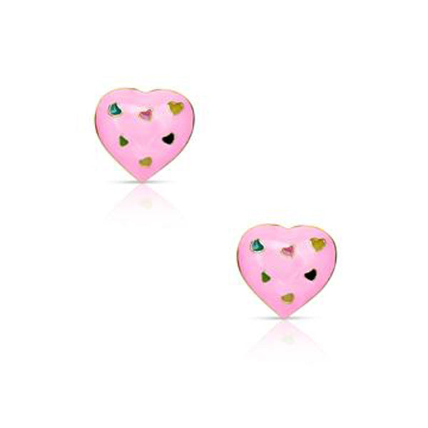 Pink Heart Earrings for Children
