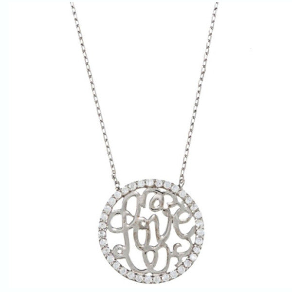 LOVE Necklace - Sterling Silver with CZ