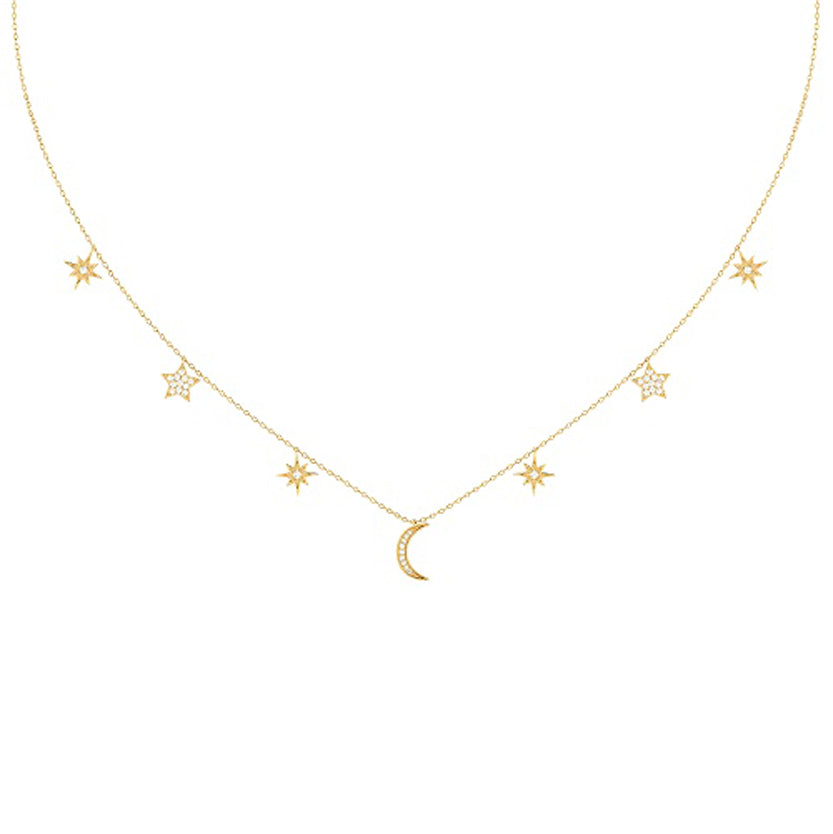 Moon and Star Necklace in 14Kt Gold