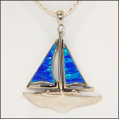 Opal Sailboat Pendant