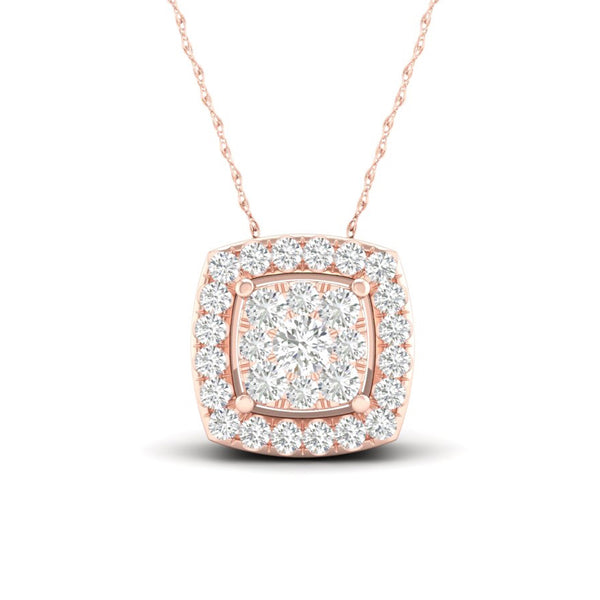 14kt Square-Shape Rose Gold Halo Necklace