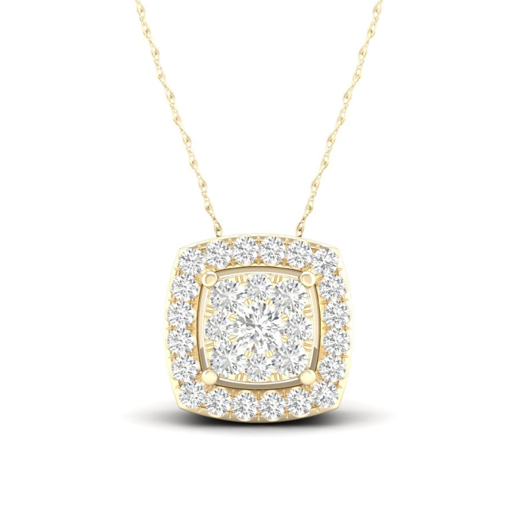 14kt Square-Shape Yellow Gold Halo Necklace