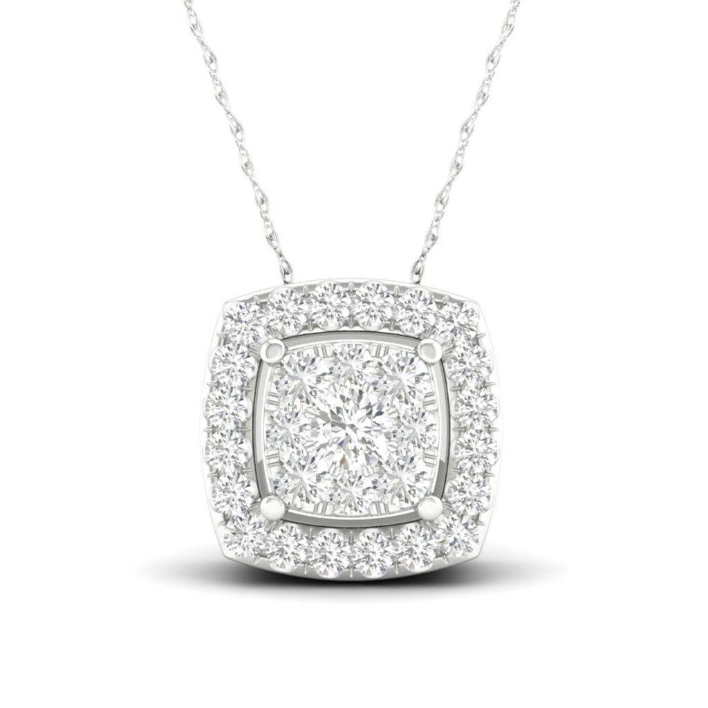 14kt Square-Shape White Gold Halo Necklace