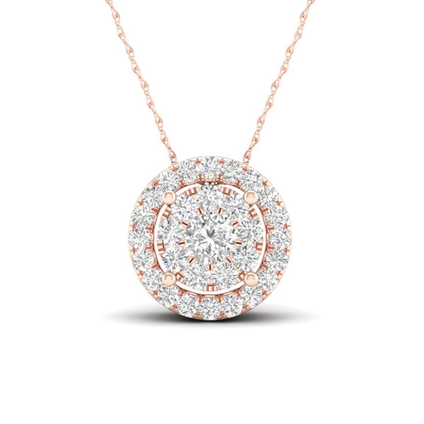14kt Round-Shape Rose Gold Halo Necklace