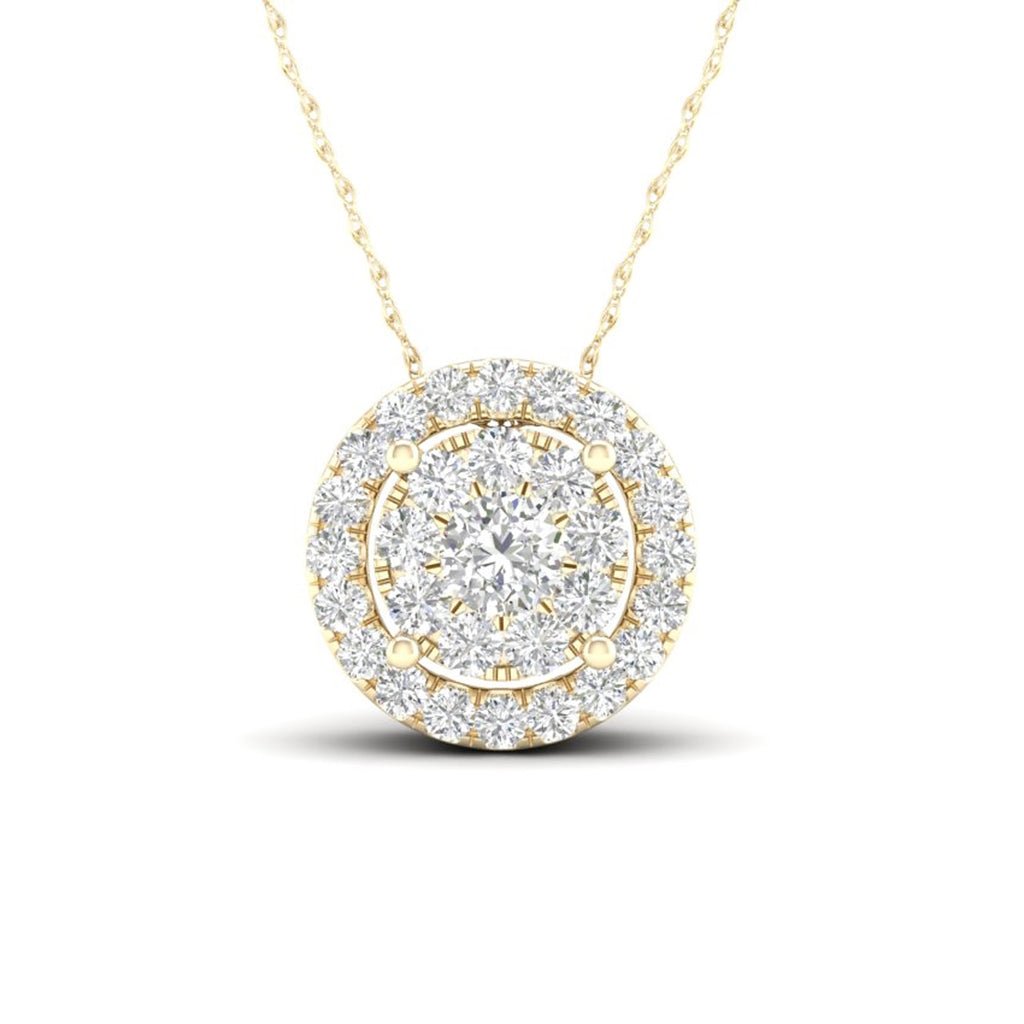 14kt Round-Shape Yellow Gold Halo Necklace