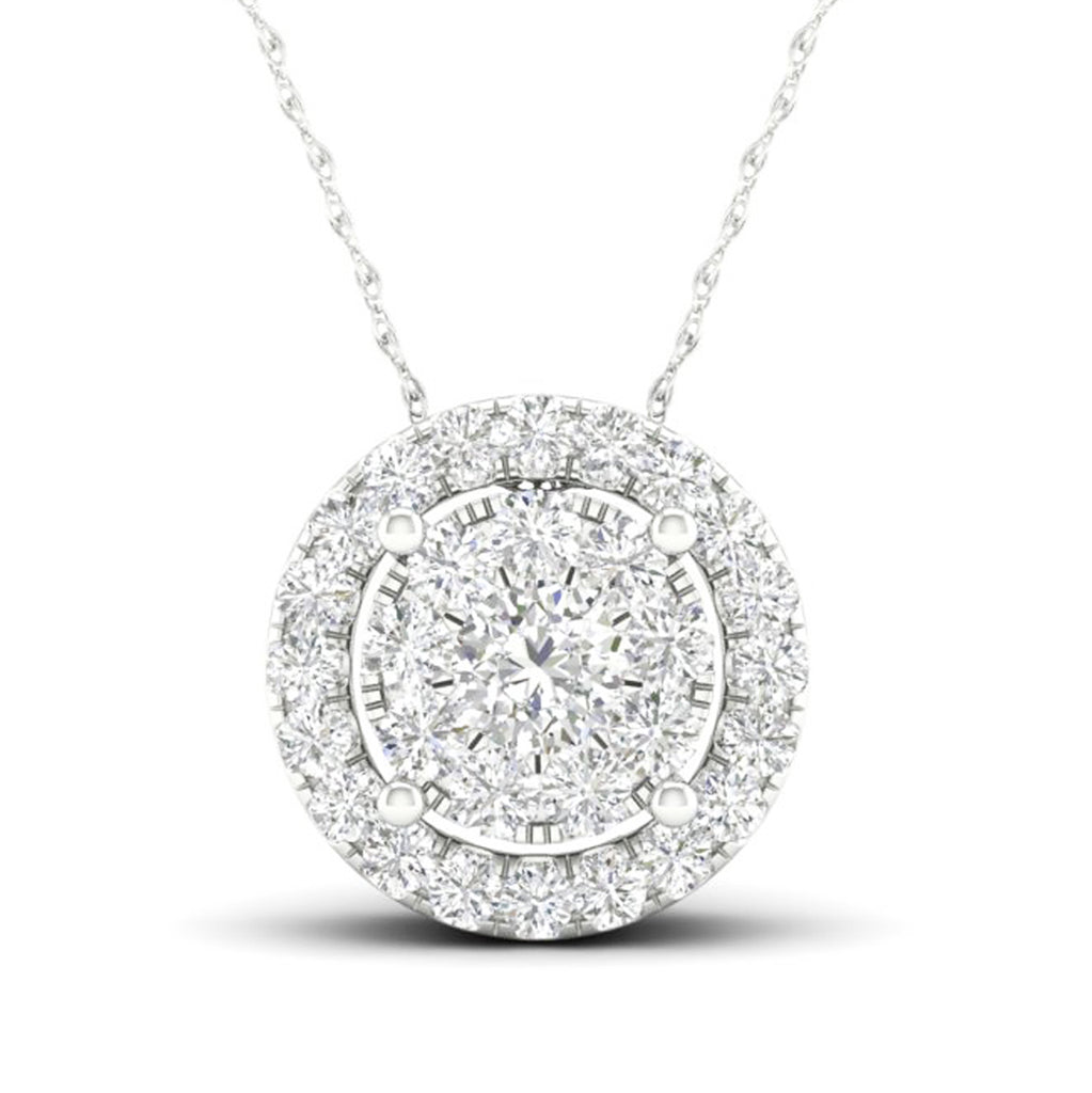 14kt Round-Shape Halo Necklace