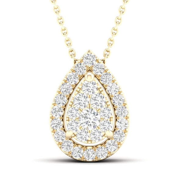 14kt Pear-Shape Yellow Gold Halo Necklace